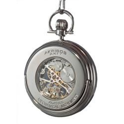 Akribos XXIV Mens Mechanical Stainless Pocket Watch