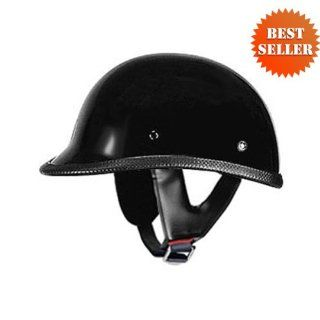 HCI 105 Polo   Black Motorcycle/Scooter Half Helmet (Small)