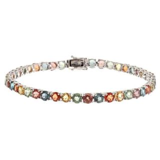 Yach 14k White Gold Multi colored Sapphire Fashion Bracelet
