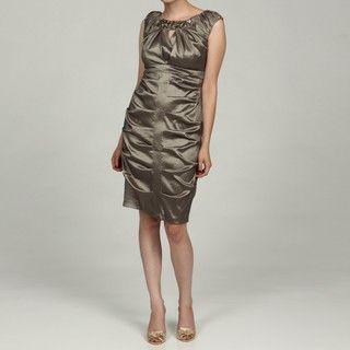 Richards Womens Beaded Neckline Empire Waist Evening Dress