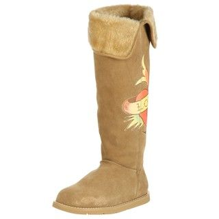 Ed Hardy Womens Himalaya 2 Roll Top Faux Fur High Boots