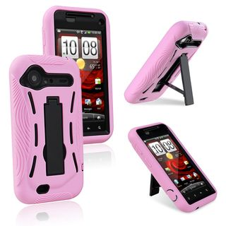 BasAcc Black/ Pink Hybrid Case with Stand for HTC Droid Incredible 2