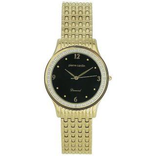 Pierre Cardin Mens Dress Goldtone Stainless Steel Black Dial Watch