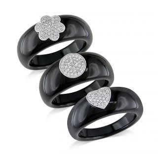Miadora 14k White Gold Black Onyx and Diamond Ring (G H, I1 I2