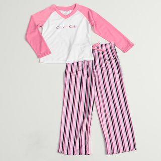 Calvin Klein Girls Pink/ White Sleepwear Set
