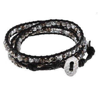 Black Leather Grey FW Pearl and Glass Wrap Bracelet (4 mm)