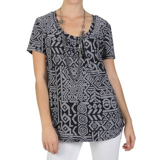 Journee Collection Womens Contemporary Plus Short sleeve Print Shirt