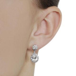 Silvertone Pear cut Cubic Zirconia Dangle Earrings