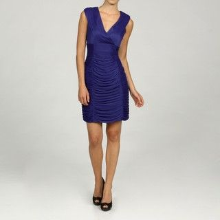 Scarlett Womens Matte Mesh Pleated Empire Waist Ruche Dress
