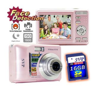 SVP XThinn8350 Pink 8MP Digital Camera with 16GB Memory Card