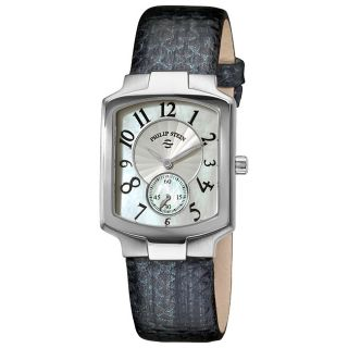 Philip Stein Womens Classic Metalic Navy Leather Strap Watch MSRP $