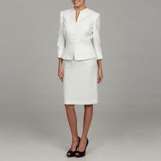 Tahari Womens White Front Button Skirt Suit