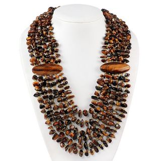 Maddy Emerson Tigers Eye Chip Multi strand Necklace