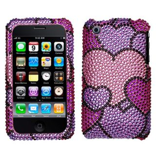 Apple iPhone 3G/ 3GS Cloudy Hearts Rhinestone Diamond Protector Case