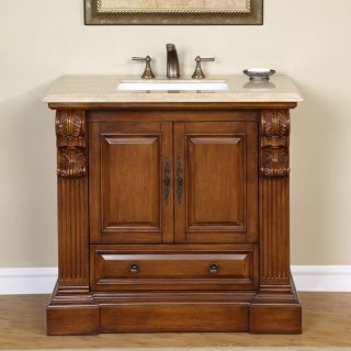 Silkroad Exclusive Travertine Stone Top Bathroom Single Vanity