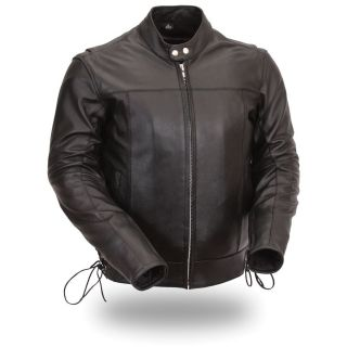 FMC Mens Side Lace Motorcycle Black Leather Jacket