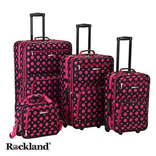 Rockland Black/Pink Dot 4 piece Expandable Luggage Set