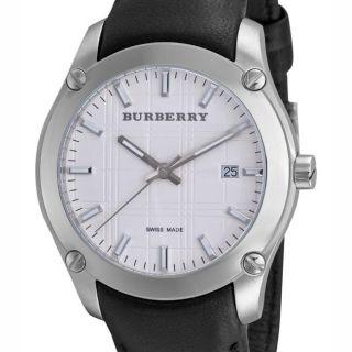 Burberry Mens Herringbone Black Leather Strap Watch
