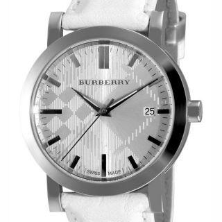 Burberry Womens Engraved Check White Leather Strap Watch