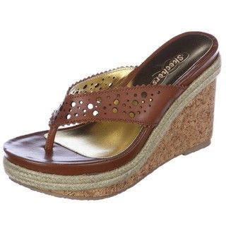 Skechers Womens Naturals Tan Leather Wedge Sandals