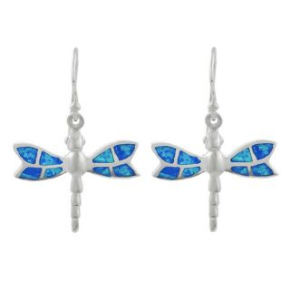 Tressa Sterling Silver Blue Opal Dragonfly Earrings