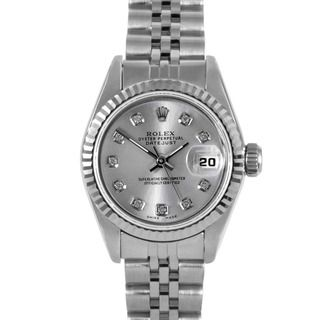 Pre owned Rolex Womens Stainless Steel Fluted Diamond Datejust Watch