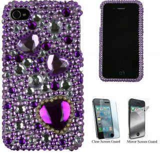 iPhone 4 Purple Heart Rhinestone Protector Case
