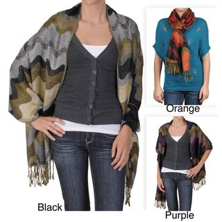Adi Designs Womens Wave Design Fringed Pashmina Shawl