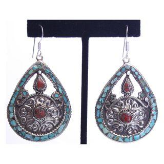 Brass and Sterling Silver Turquoise Teardrop Earrings (Nepal