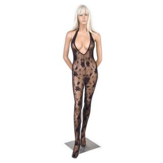 Hustler Womens Black Floral Crotchless Bodystocking