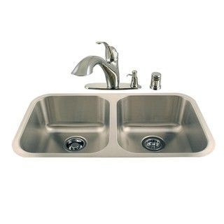 Undermount Double Stainless Steel Sink and Chrome Faucet Combo Kit
