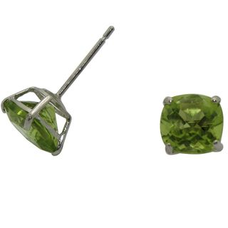 10k White Gold Cushion cut Peridot Stud Earrings