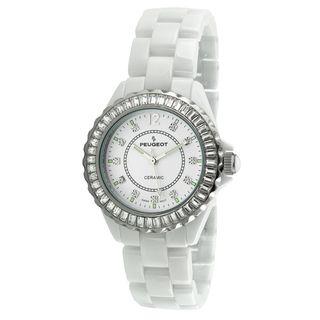 Peugeot Womens Swiss White Genuine Ceramic Crystal Bezel Watch