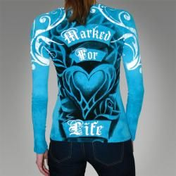 Marked for Life Womens Teal Long sleeve Graphic Tee