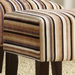 Rust/ White/ Black/ Brown Stripe Ottoman