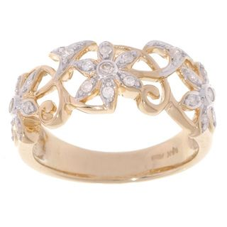14k Yellow Gold 1/4ct TDW Diamond Flower Filigree Ring (H I, I2 I3