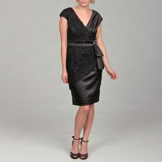 KM Collections Womens Satin Sash Lace Rosette Dress