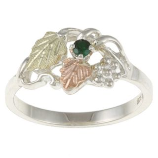 Sterling Silver and Black Hills Gold Created Emerald Ring Today $49