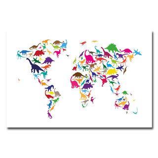 Michael Tompsett Dinosaur World Map Canvas Art