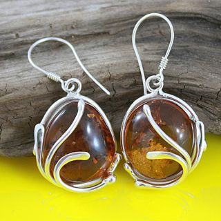 Sterling Silver Caged Oval Honey Amber Dangle Earrings (Lithuania