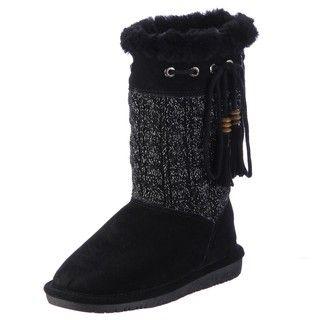 Bearpaw Womens Constantine Black Metalic knit Slipper Boots