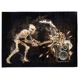 Skinz Design Black Skeleton Rock N Roll Area Rug (5 x 7