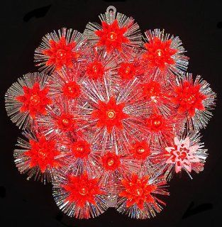 Retro Silver Tinsel Flower Christmas Tree Topper With Red