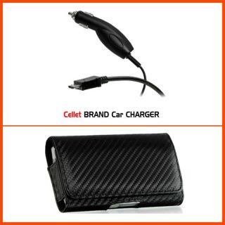 Premium T Mobile myTouch 4G Carbon Fiber Style Belt Clip Case with Car