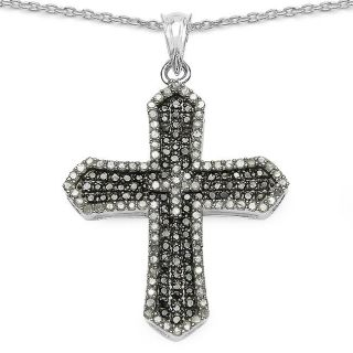 Malaika Sterling Silver 1 1/2ct TDW Black and White Diamond Cross