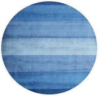 Round) Hand tufted Blue Stripe Wool Rug