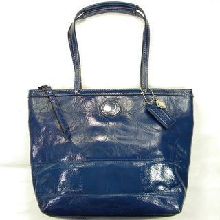 Coach Patent Leather Blue Logo stitched Tote Bag