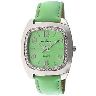Peugeot Womens Green Leather Strap Watch