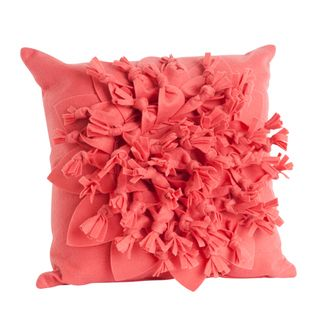 Coral Color Flower Design 17 inch Felt Throw Pillow