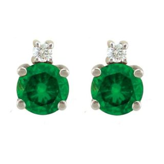 10k Gold May Birthstone Created Emerald and Diamond Stud Earrings